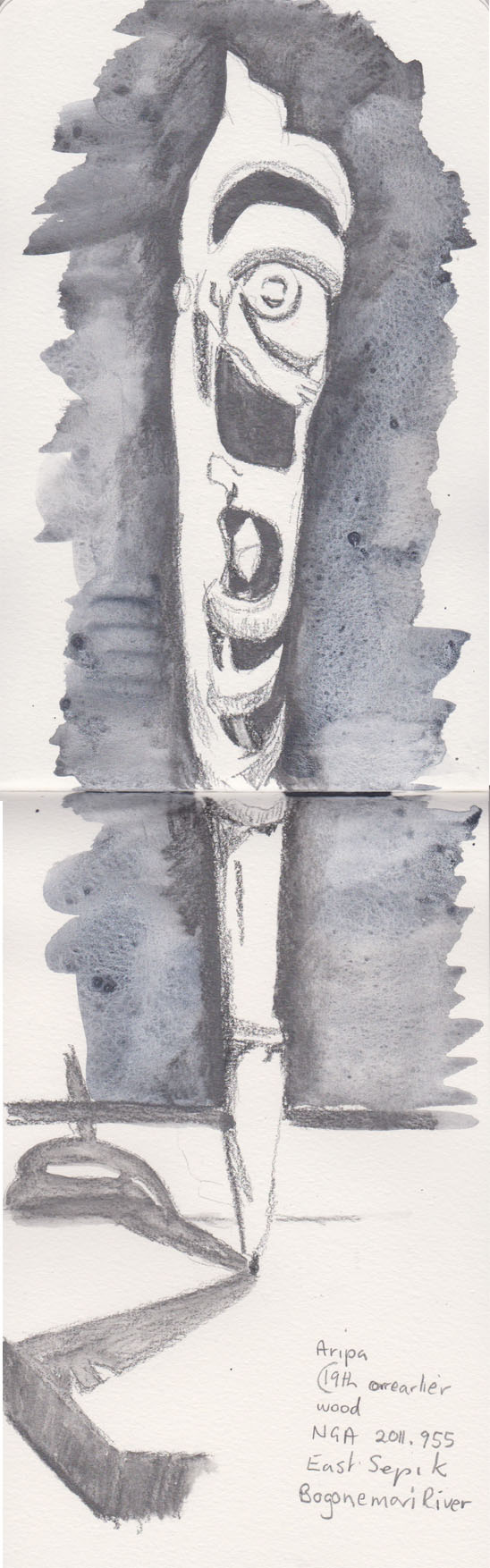 Aripa, 19th century or earlier, wood, Bogonemori River, east Sepik, collection of the National Gallery of Australia, Water soluble graphite and watercolour (added later), 17 August 2015