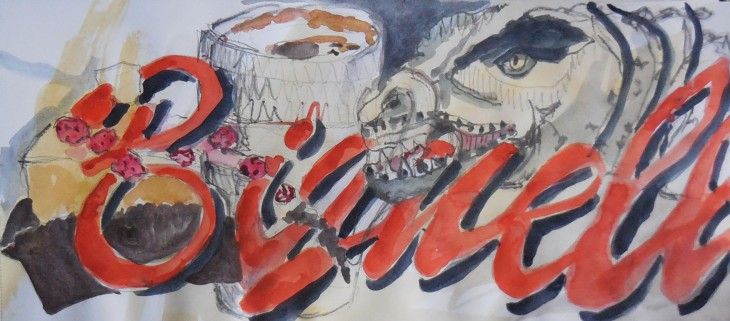 At Biginelli's along with the dinosaur, watercolour and watersoluble graphite, 19 August 2015