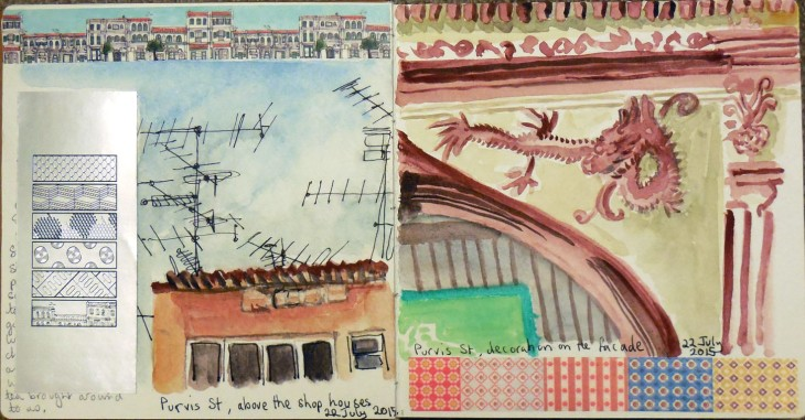 Drawings of the roof lines and building decorations in Purvis St Singapore, 22 July 2015, watercolour and pen and ink
