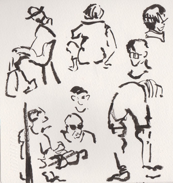 Figures and faces in the Albert St Mall, 25 July 2015, brush pen