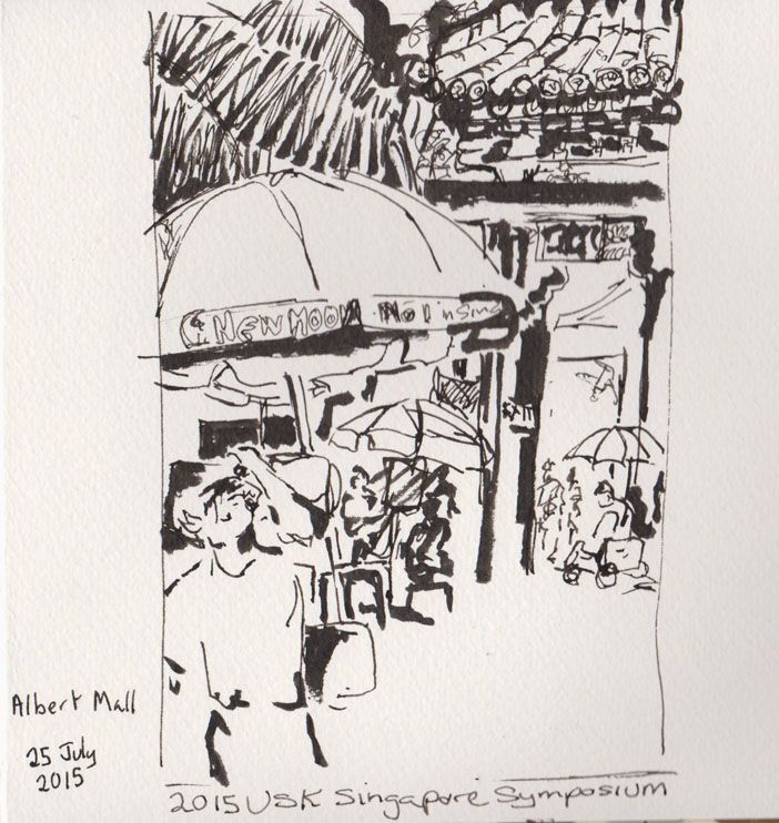 Outside the temple, brush pen, pen and ink, 25 July 2015.