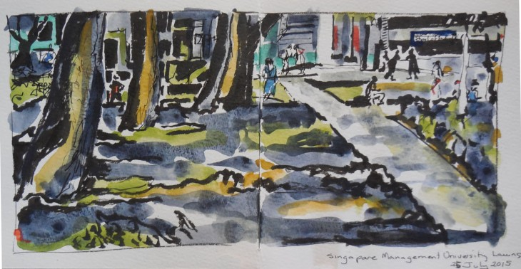 My drawing at the final sketchwalk, brush pen, ink and watercolour, 25 July 2015