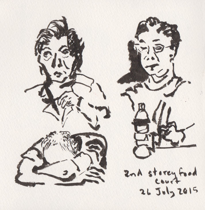 At the food court, some of our fellow diners, brush pen, 26 July 2015