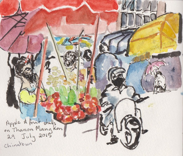 Apple stalls in Thanon Mangkon, Chainatown, Bangkok, 29 July 2015, watercolour, brush pen and ink