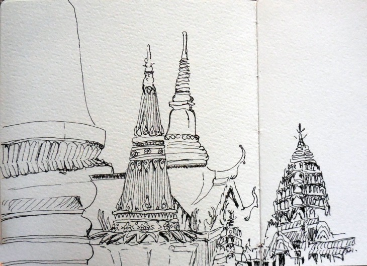 Inside the Grand Palace Bangkok, pen and ink 2 August 2015