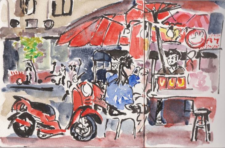 The roast chestnut stall, Chinatown, Yaowarat St, Bangkok, 30 July 2015