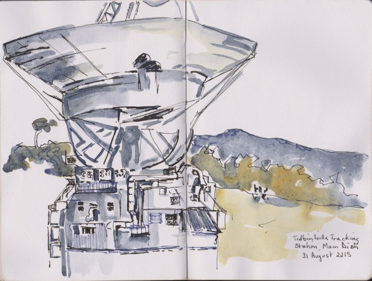 DSS43, the 70 metre antenna, pen and ink, brush pen and watercolour, 31 August 2015