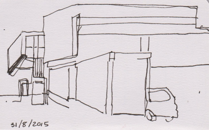 A simplified line drawing in pen and ink, 31 August 2015