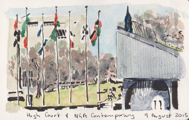 NGA Contemporary and the High Court, watercolour and brush pen, 9 August 2015