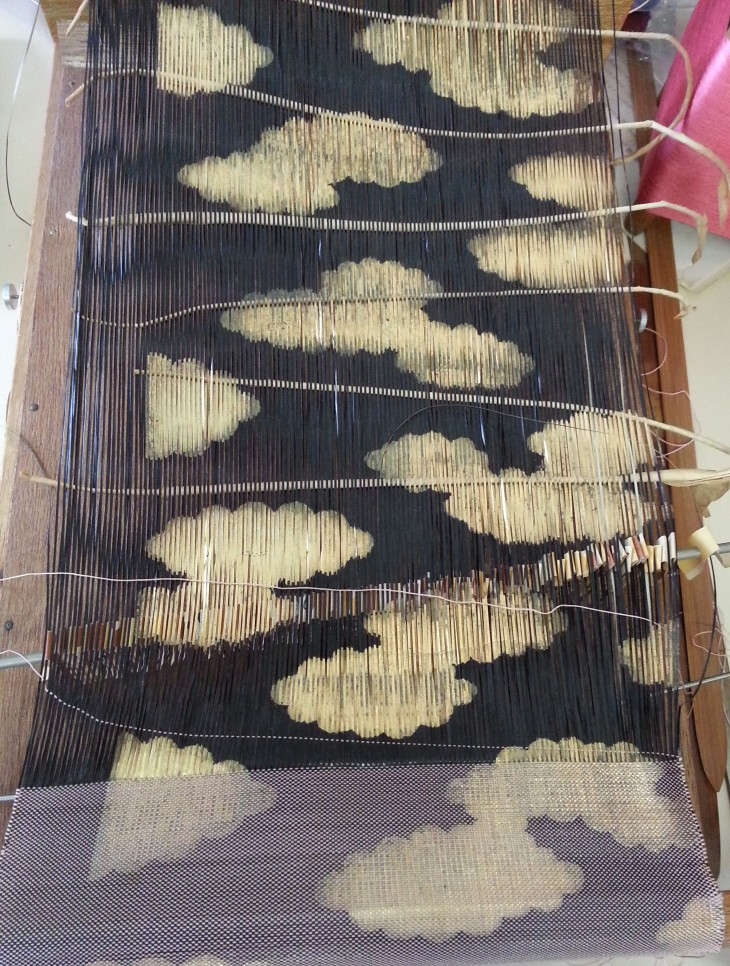 A Saga nishiki loom, with paper warp and silk weft