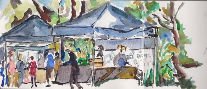 Stalls at the Eat Local Friday markets at the Australian National Botanic Gardens, brush pen, watercolour, pen and ink, 11 September 2015