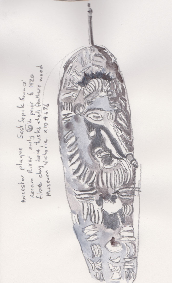 Ancestor Plaque, East Sepik Province, Keram River, early 20th cent. prior to 1920, Museum Victoria X104676, graphite, with added watercolour, 16 September 2015