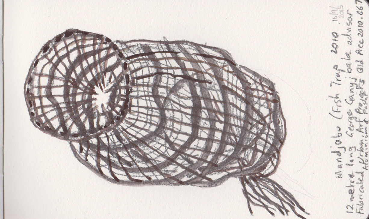 Mandjabu (Fish Trap), 2010, created with assistance from George Ganyjbala, fabricated in aluminium and paint by Urban Arts Projects, Acc2010.667, graphite with added watercolour, 16 September 2015