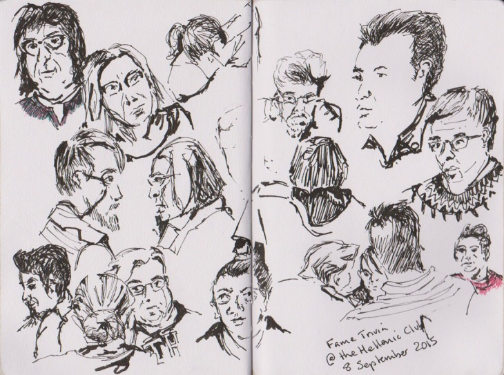 Faces at the trivia night, pen and ink and brush pen , 8 September 2015