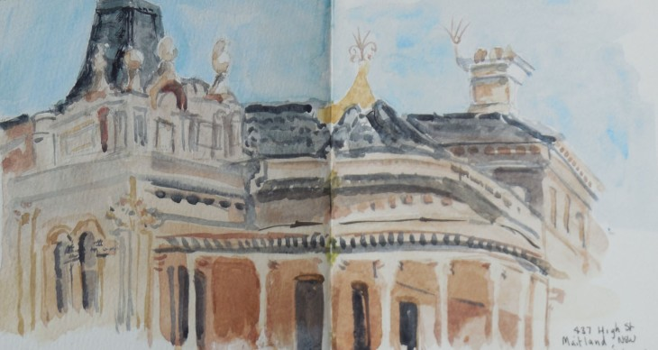 The first floor of 437 High St, Maitland, watercolour, 12 October 2015