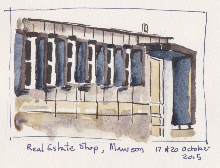 Shuttered facade on a real estate office, brushpen and watercolour, 17 & 20 October 2015