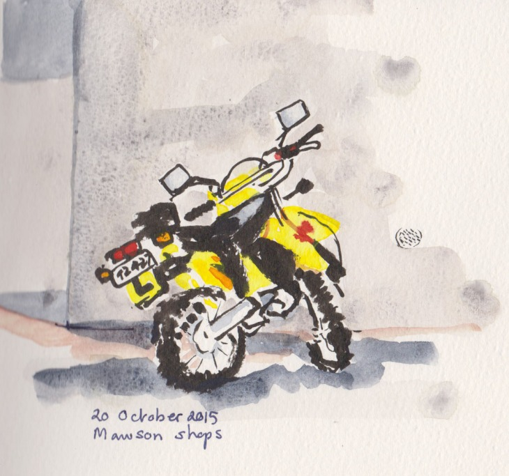Motorcycle, brushpen and watercolour, 20 October 2015