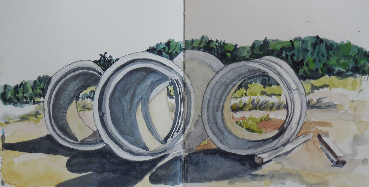 Sewerage pipes above the new subdivisions, watercolour, Mt Stromlo appears in the background, 25 September 2015