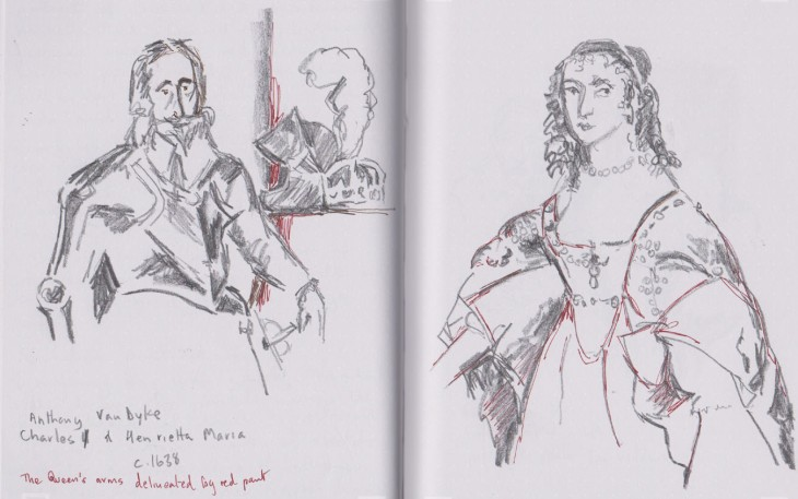 Study of King Charles I and Queen Henrietta-Maria, c 1638, graphite and gel pen
