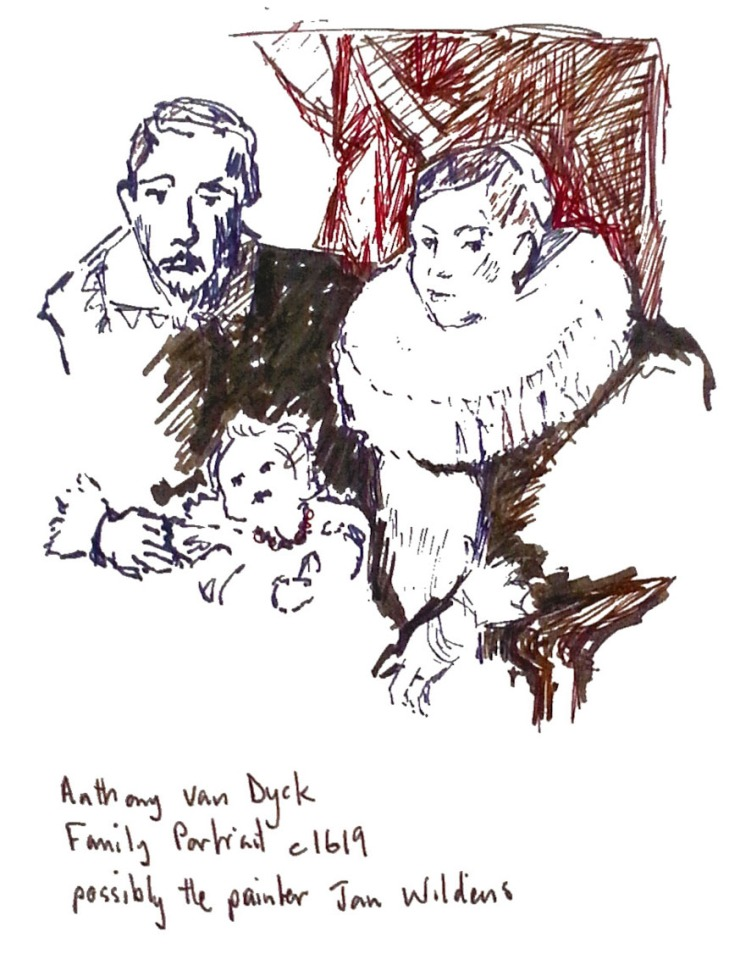 Study of Family Portrait, by Anthony van Dyck, pen and ink, brush pen and gel pen