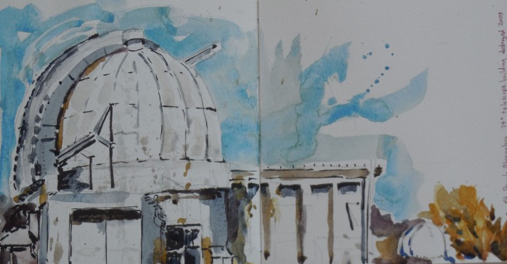 The 74 inch telescope building, Mt Stromlo, 28 September 2015, watercolour