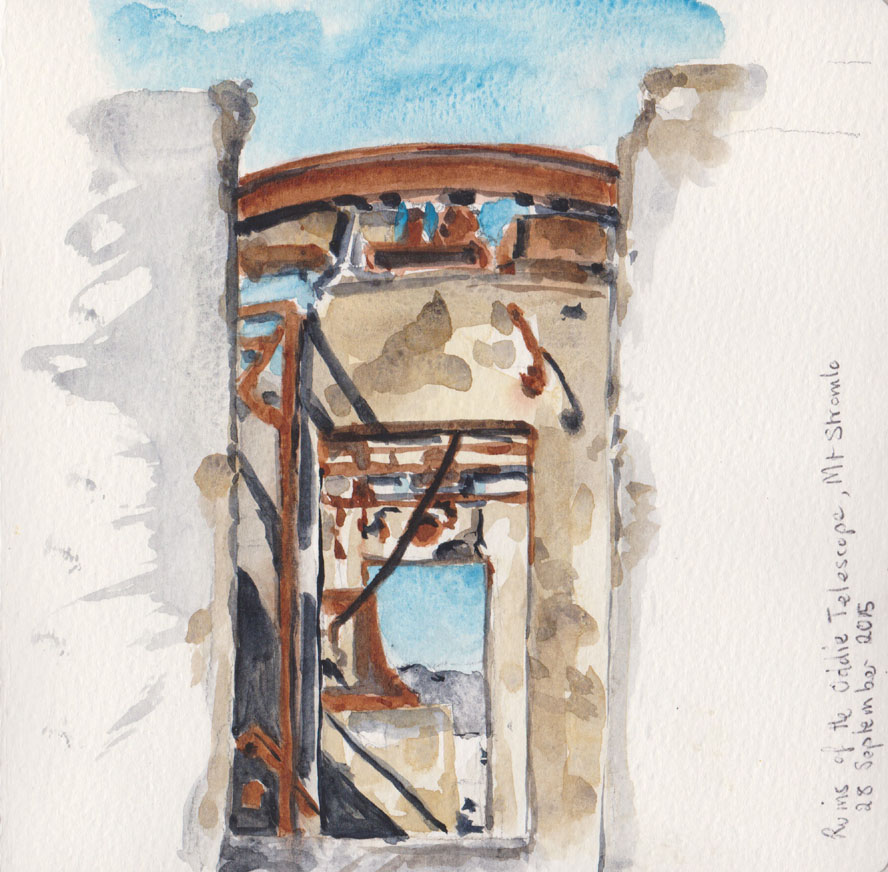 Remains of the Oddie telescope building, watercolour, 28 September 2015