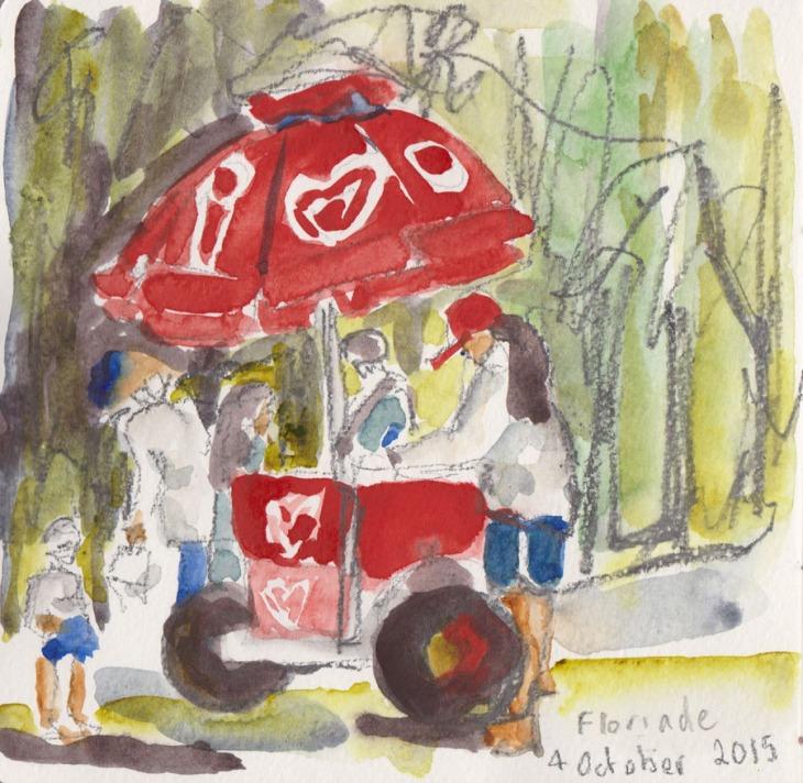 Ice cream vendor, watercolour and graphite