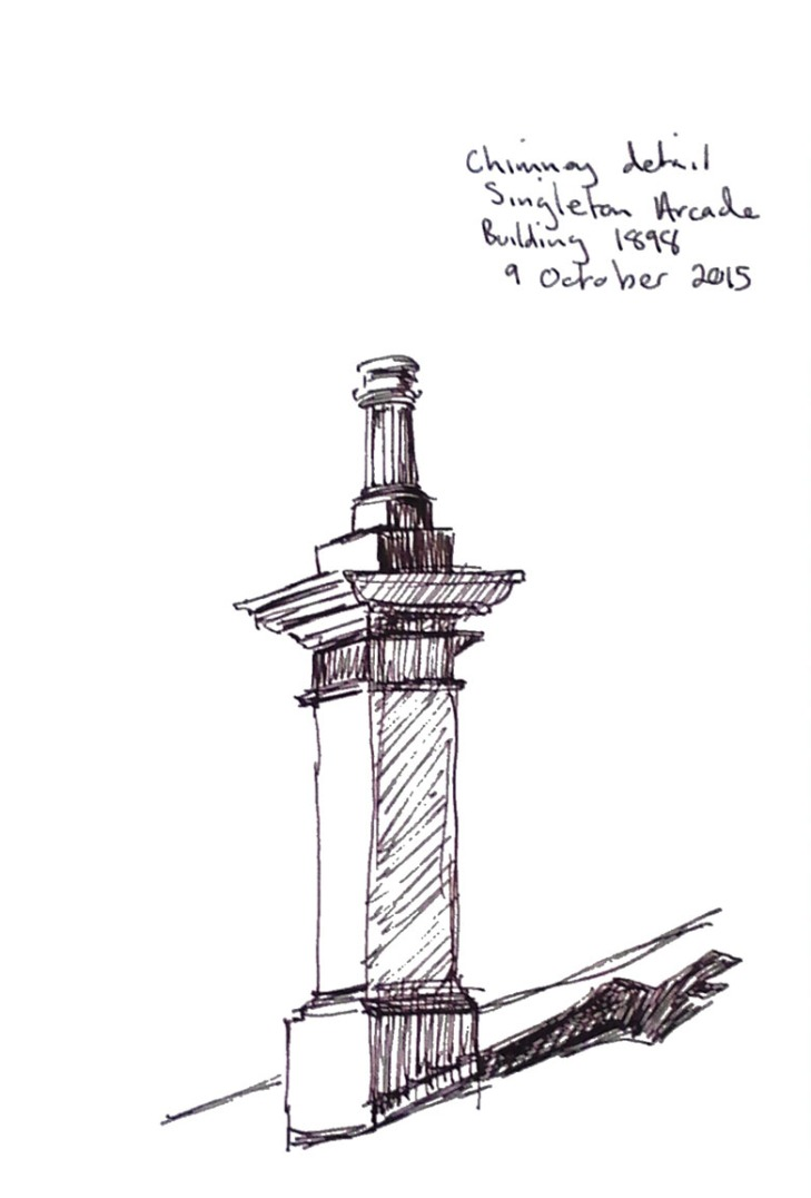 Chimney detail, the Singleton Arcade, pen and ink, 9 October 2015