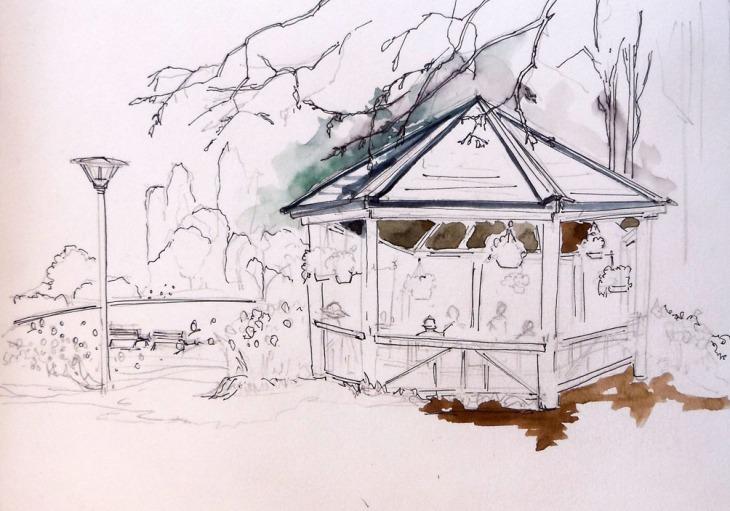 Elaine's sensitive linework view of a picnic spot