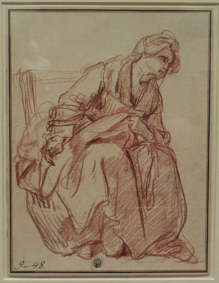 Jean-Baptiste Greuze, 1760's, Study of a seated woman (the paralytic's wife), red chalk State hermitage Museum, St Petersburg