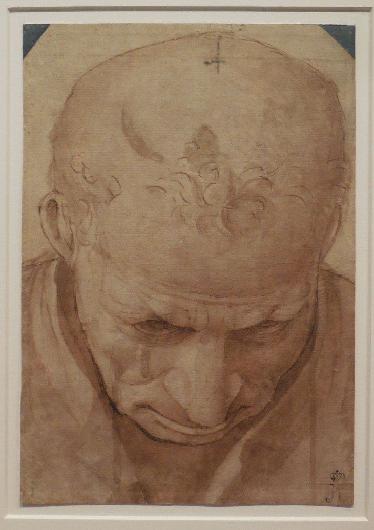 Luca Signorelli, c1480, study of the head of an elderly man, pen and brown ink and wash, State hermitage Museum, St Petersburg