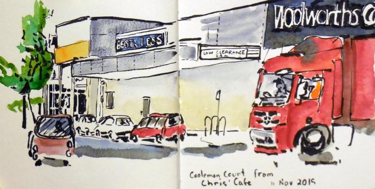 Cooleman Court, brush pen and watercolour, 11 November 2015