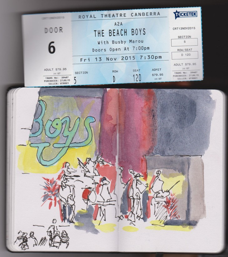 The Beach Boys on stage, pen and ink and added watercolour,13 November 2015