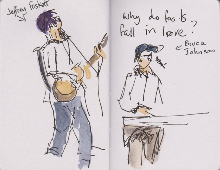 Beach Boys concert, pen and ink and added watercolour, 13 November 2015