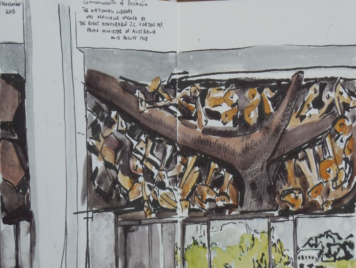 Part of the sculpture, Knowledge, at the National Library of Australia, watercolour and brush pen, 1 November 2015