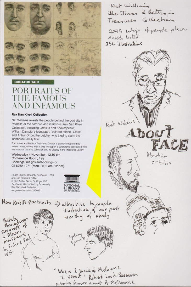 Faces real and projected, pen and ink, 4 November 2015