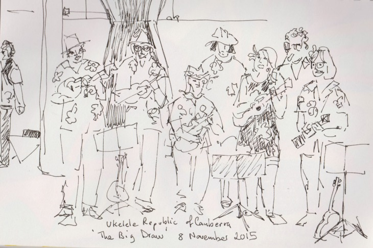 The Ukulele Republic of Canberra at the National Gallery of Australia, pen and ink, 8 November 2015