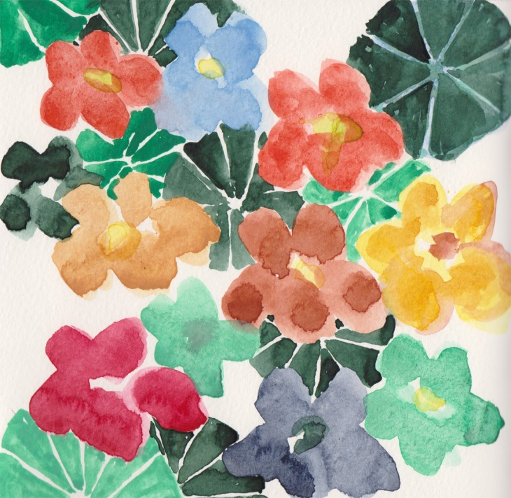 Nasturtiums, Japanese watercolour paints