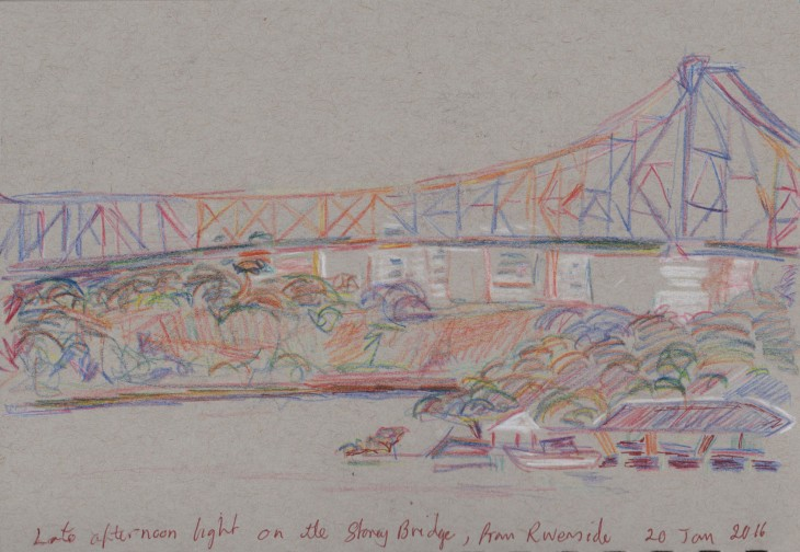 Late afternoon sun on the Storey Bridge Brisbane, coloured pencil, white chalk, 20 January 2016