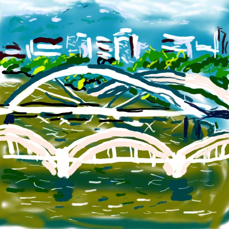 Brisbane River Bridges, digital drawing on PS Touch app (for Android)