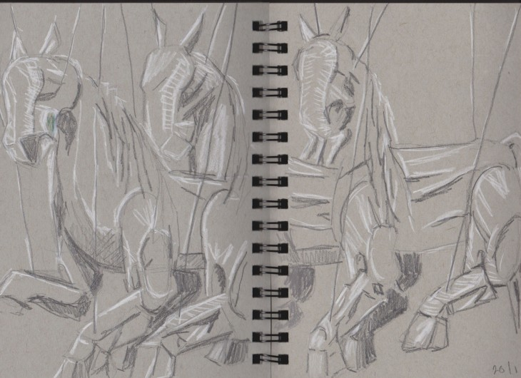 Min Thein Sung, Another Realm (horses) 2015, my sketch, graphite and chalk on grey toned paper