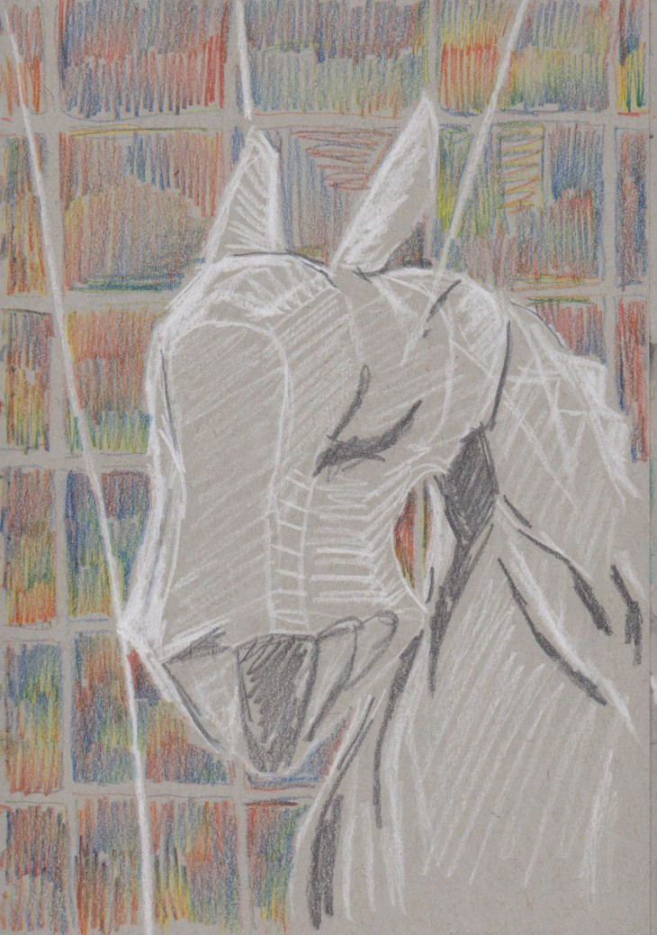 Detail of the head of one of the horses, Min Thein Sung Another Realm (horses), 2015, my sketch graphite, white chalk and coloured pencil on grey-toned paper