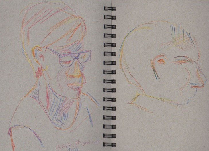 Woman and unfinished man, Magic Pencils (Fire and America, left; and Original, right), 13 February 2016