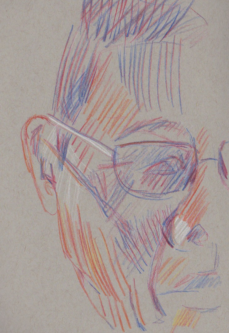 Obscured face, magic pencils Fire and America and white chalk