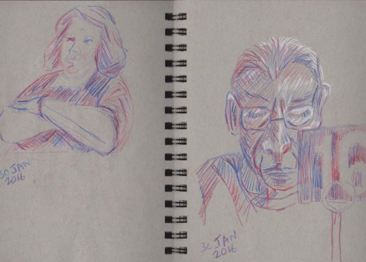 Cafe drawings, Magic Pencils (America), with white chalk on the right hand side, on grey-toned Strathmore paper, 30 January 2016