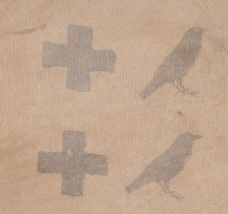 Crows and crosses, mordant print on cotton mix(?)