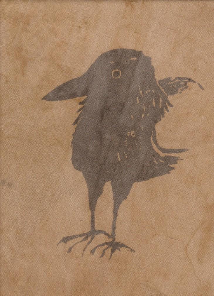 Crow, mordant print on linen
