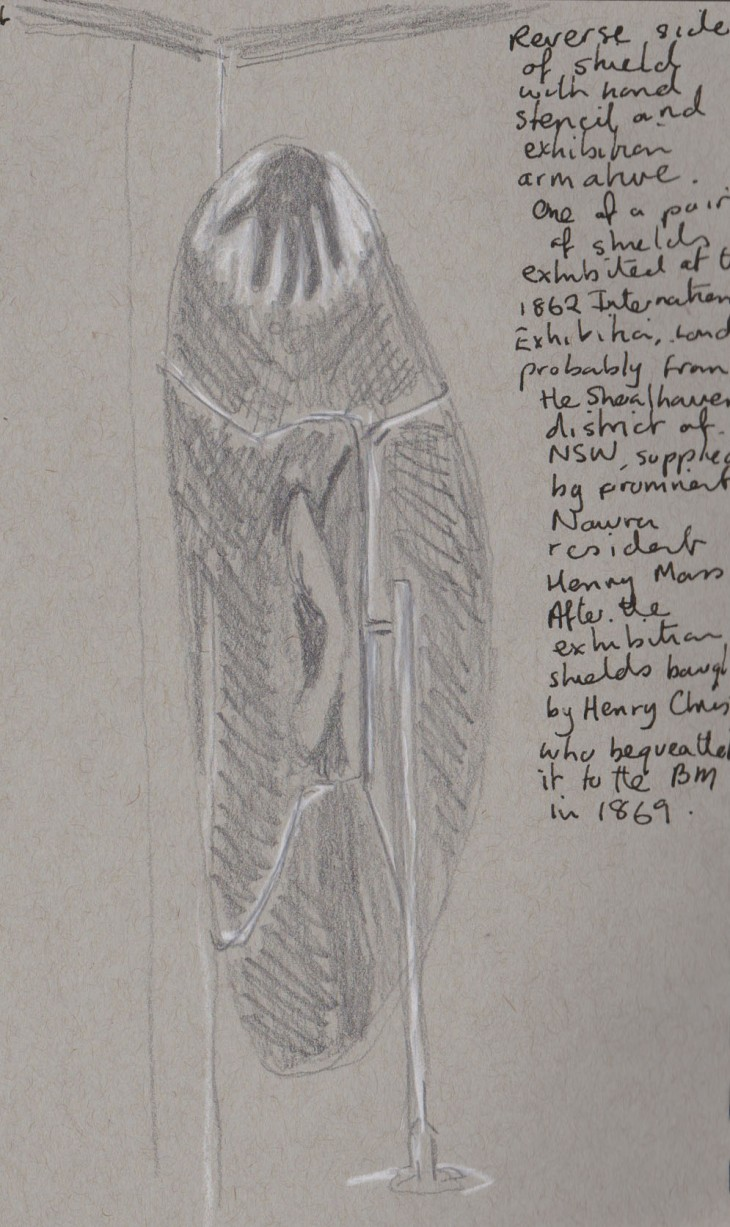 Reverse of a shield with hand stencil, probably from the Shoalhaven region of New South Wales. Exhibited at the 1862 International Exhibition, London. My sketch graphite and white chalk