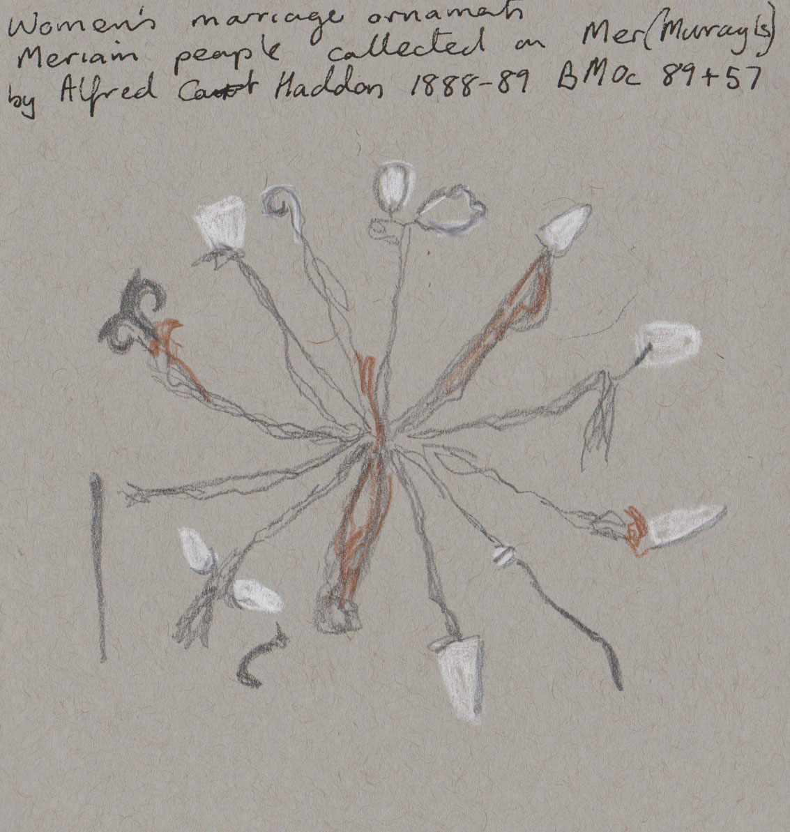 Women's marriage ornaments, Mer, late 1880's. My sketch graphite, white chalk and coloured pencil on grey-toned paper
