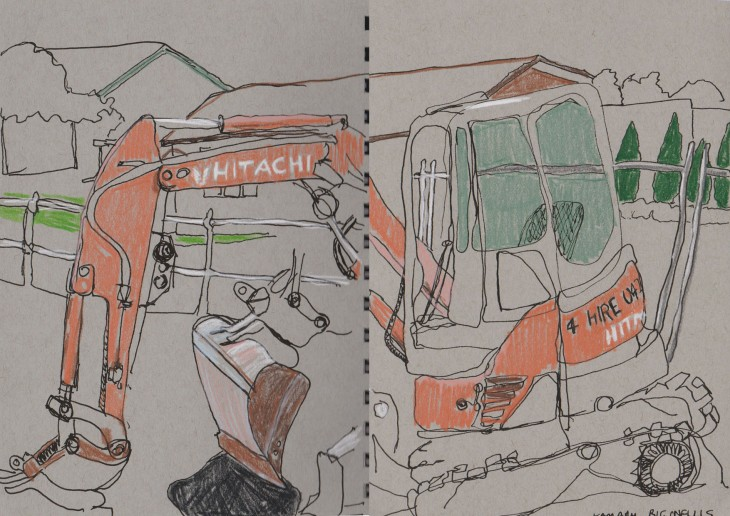 Small digger, 23 March 2016, coloured pencil, ink and white chalk on gray toned paper